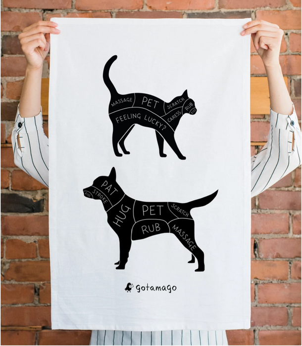 Cat and Dog Petting Guide Tea Towel