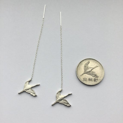 Crane in Flight Dangle Earrings
