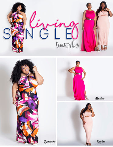 Courtney Noelle Lookbook Synclaire convertible dress regine maxi dress maxine gown plus size