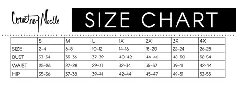 Courtney Noelle Size Chart Plus size women