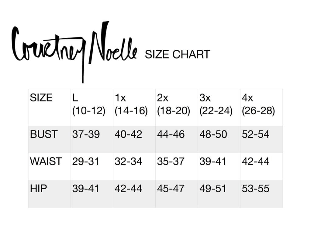Courtney Noelle Size Chart