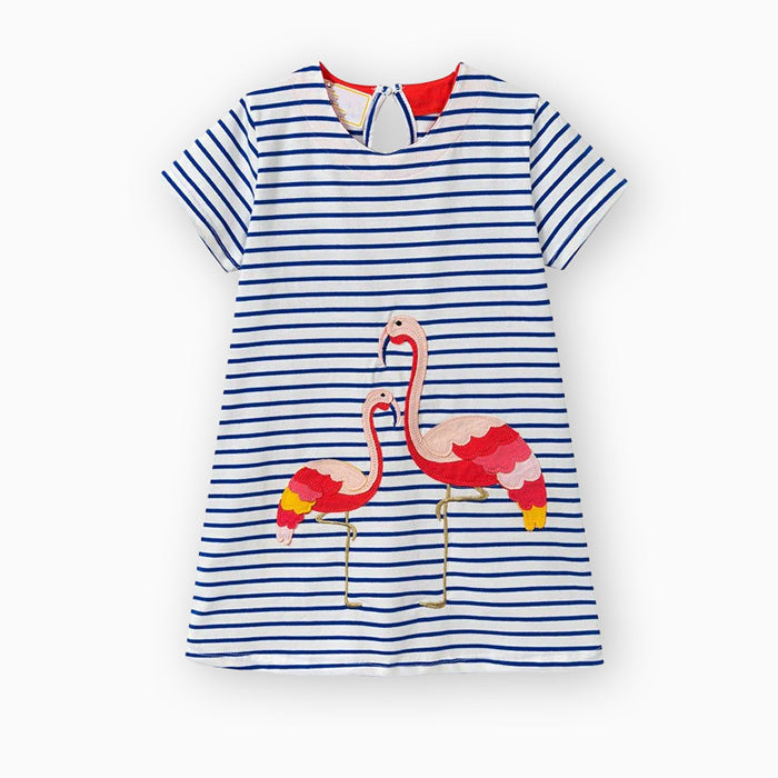 robe marinière fille - flamant rose