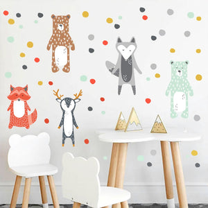Stickers - Renard ours cerf