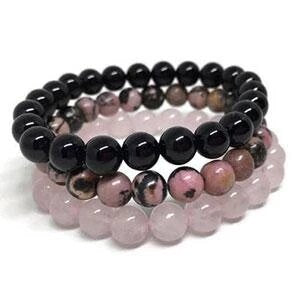 Pack of 3 bracelets «Confidence in love» made from Black Onyx, Rhodonite and Rose Quartz