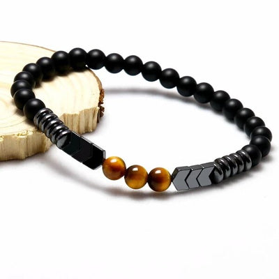 « Extreme Protection » Bracelet made from Matte Onyx, Tiger Eye and Hematite