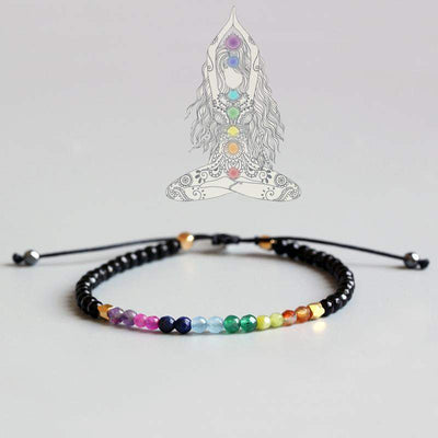 Chakra-Harmonization Bracelet of 7 Chakras made of Rock Crystal-WorldOfChakras