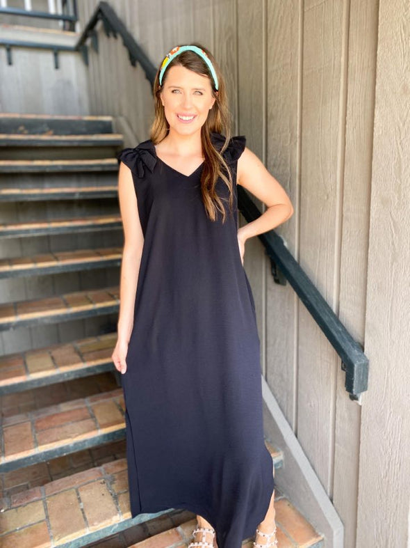 Black Ruffle Sleeve Maxi Dress