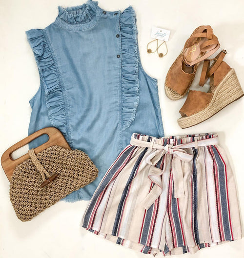 Tan with Pink and Navy Stripe Shorts