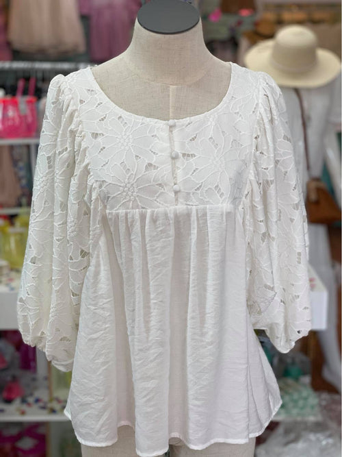 White Eyelet Babydoll Top