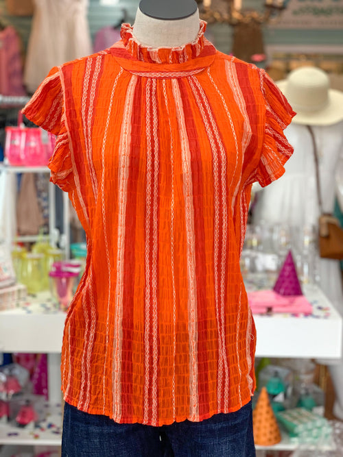 Orange High Neck Stripe Top