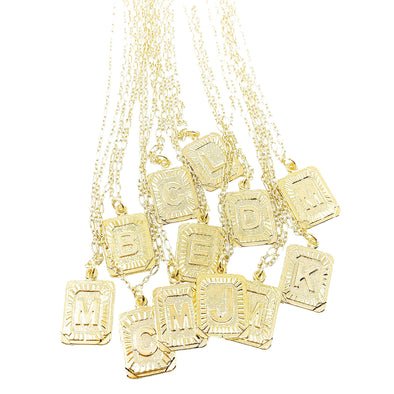 Gold Plate Initial Necklaces