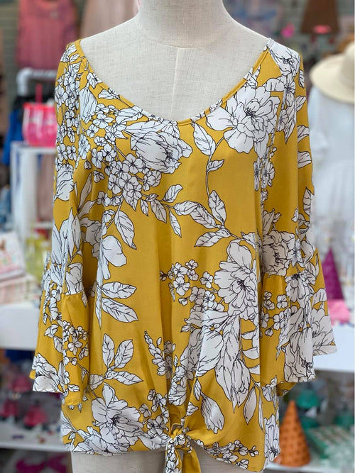 Yellow Floral Tie Top