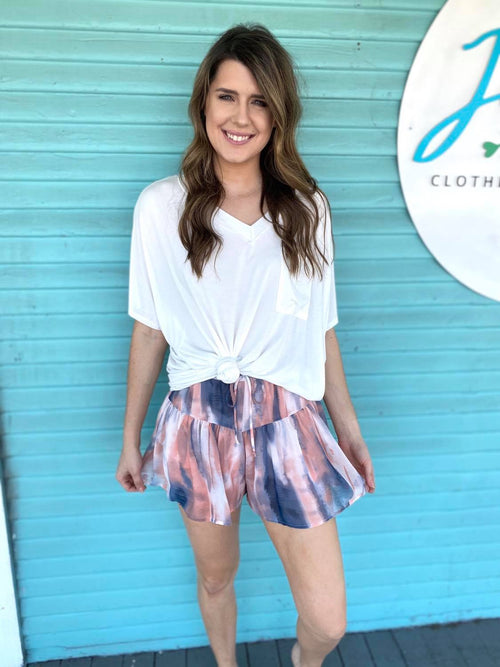 Pink and Navy Tie Dye Shorts