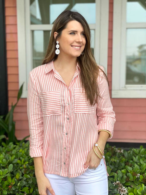 Salmon Striped Button Up Top