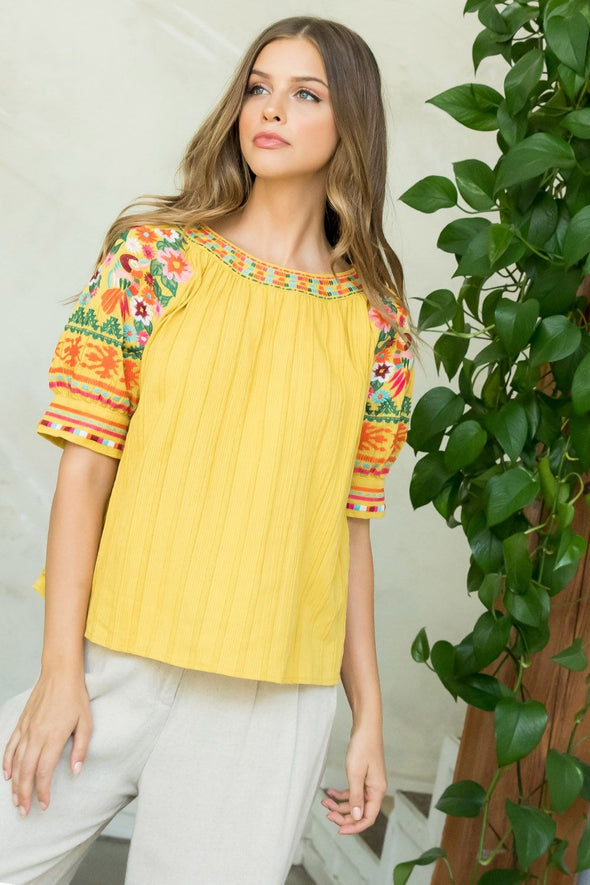 Mustard THML Embroidered Top