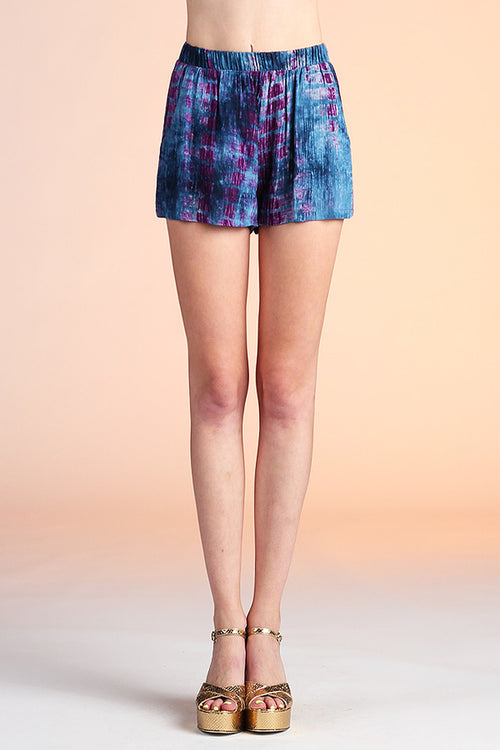 Navy and Magenta Tie Dye Shorts