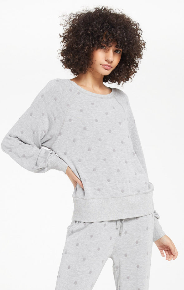 Heather Grey Brook Dot Long Sleeve Top