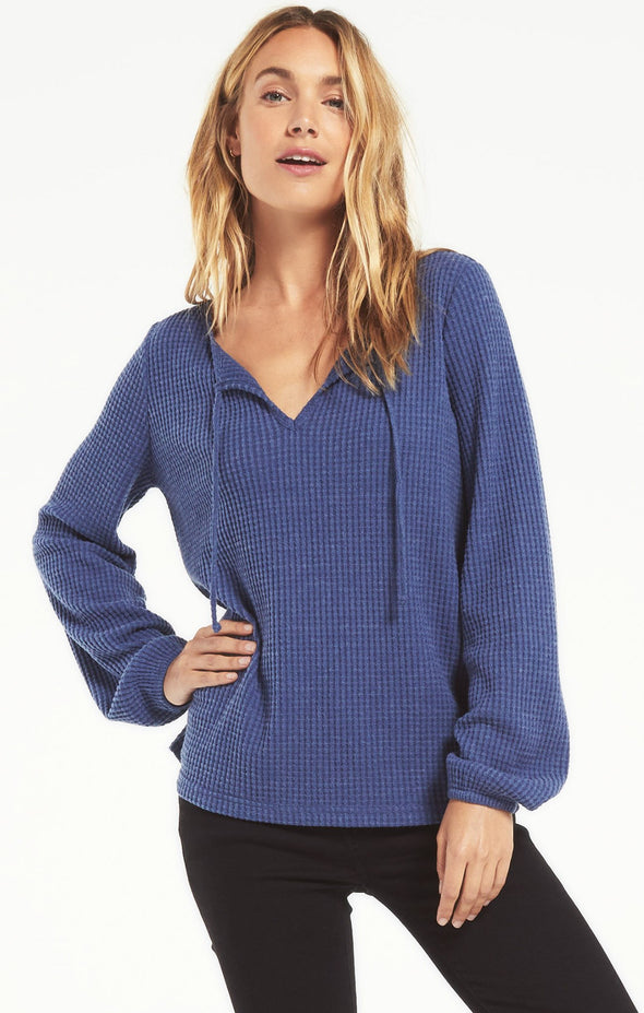Washed Navy Larissa Thermal Top