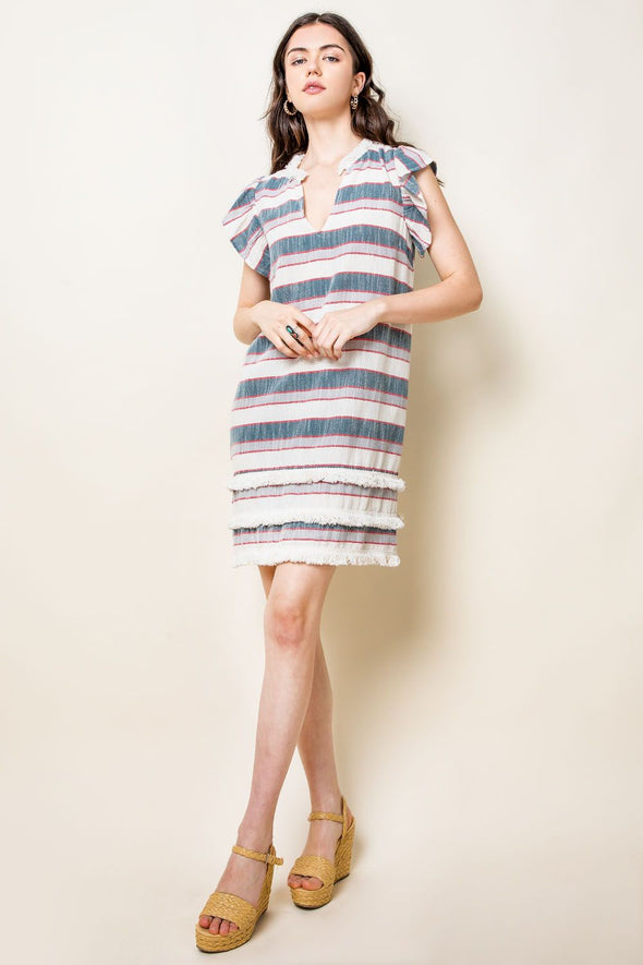 Blue Striped Fringe V-Neck THML Dress
