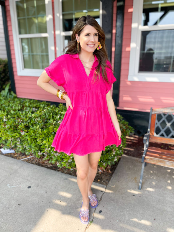Hot Pink Linen Collared Dress