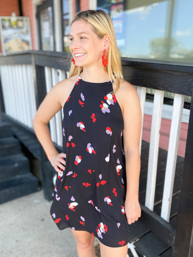 Black Cherry Blossom Tank Dress