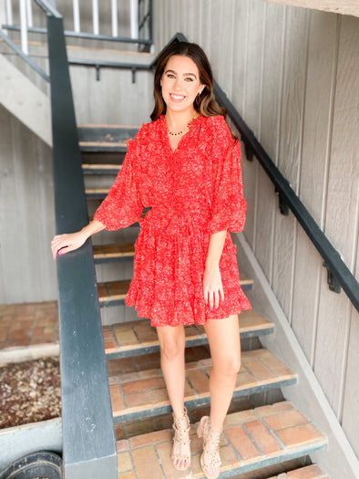 Red Ruffle Mini Dress