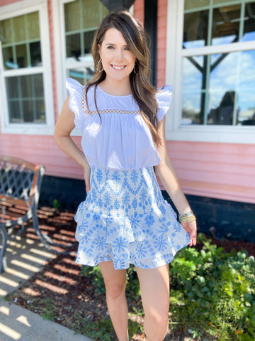 Ice Denim Pin Striped Mini Dress