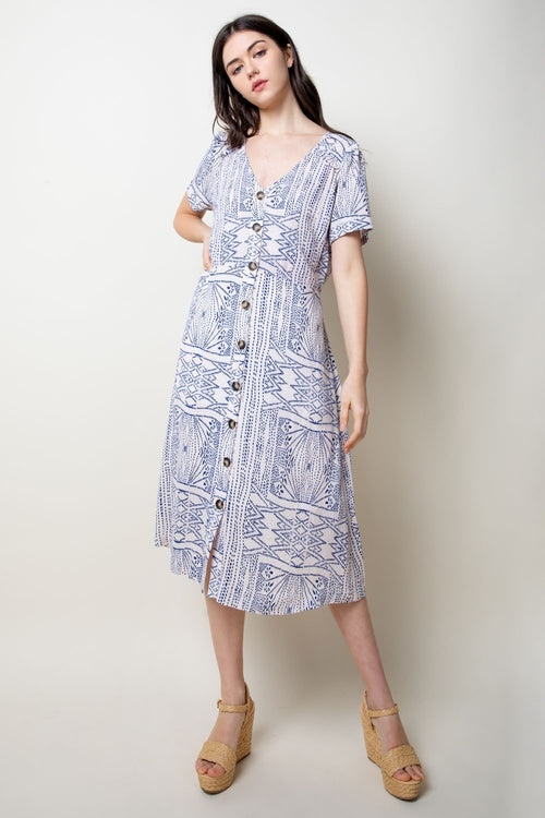 Blue and White Button Midi Dress