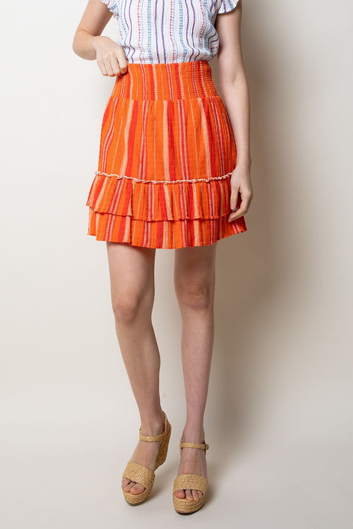 Orange Smocked Ruffle Skirt