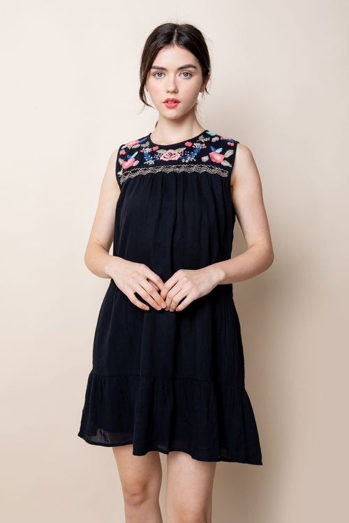 Black Embroidered Tiered Dress