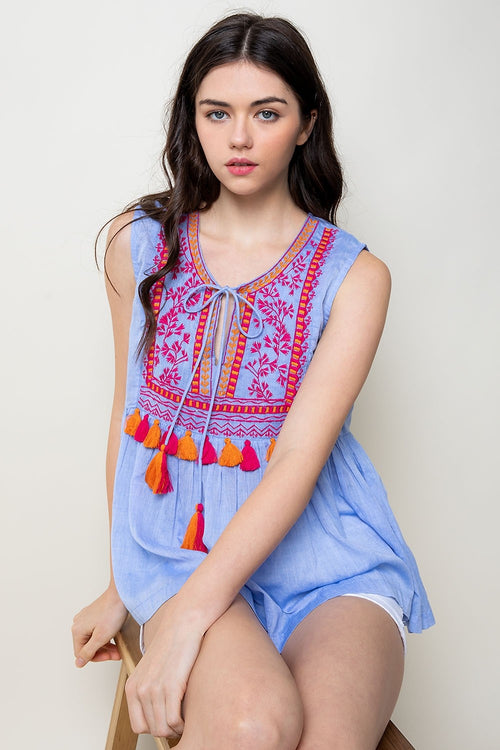 Blue Embroidered Tank with Tassel