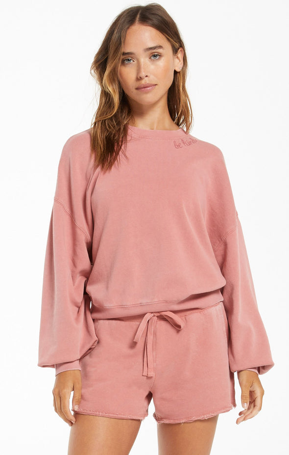 Lia Dusty Rose Washed Long sleeve Top