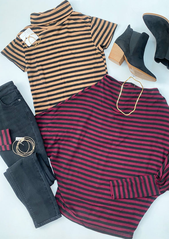 Black Camel Striped Turtle Neck Top
