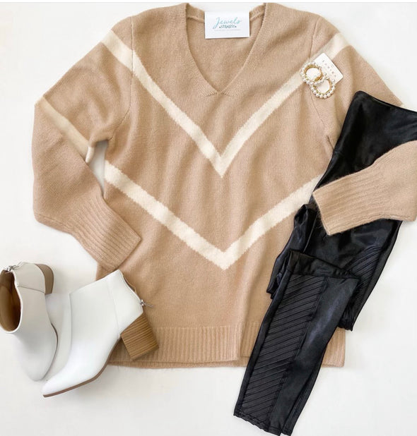 Taupe and Cream Chevron Knit Sweater
