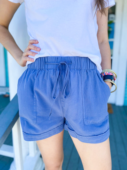 Dusty Blue Drawstring Shorts