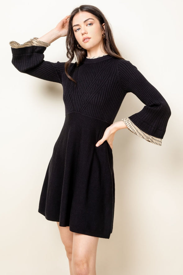 Black Ribbed A-Line Knit Dres