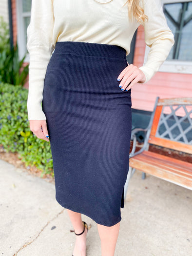 Black Ribbed Sweater Skirt