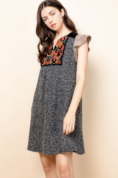 Black Embroidered Flutter Knit THML Dress