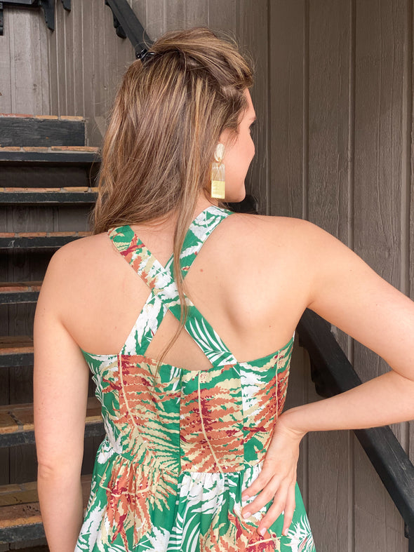 Green Leaf Printed Maxi Dress