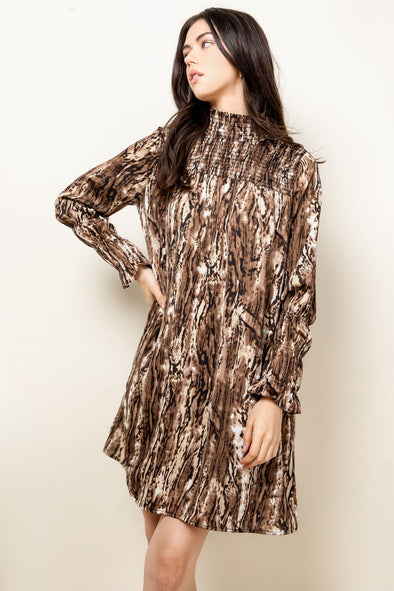 Brown Printed Smock THML Dress