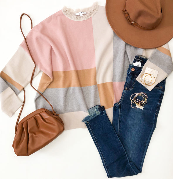 Pink Colorblock THML Sweater