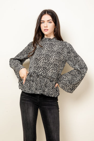 White/Black Printed Long Sleeve Top