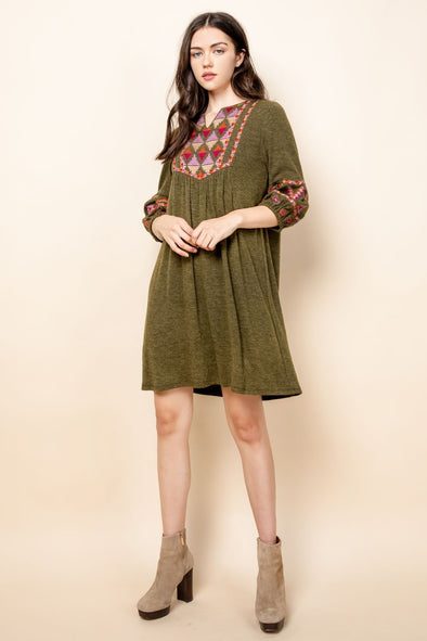 Olive Mid Sleeve THML Dress