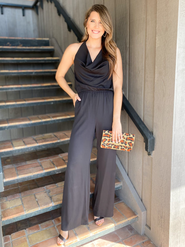 Black Cowl Neck Halter Jumpsuit