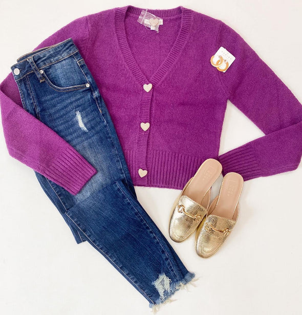 Purple Heart Button Knit Cardigan