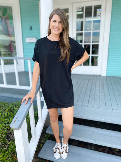 Black Cuffed Sleeve Knit Dress