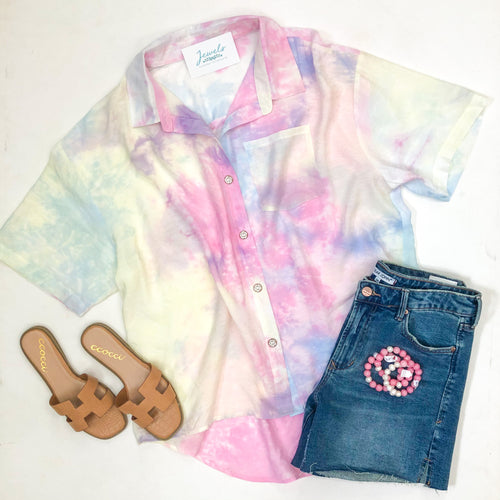 Cotton Candy Tie Dye Collar Top