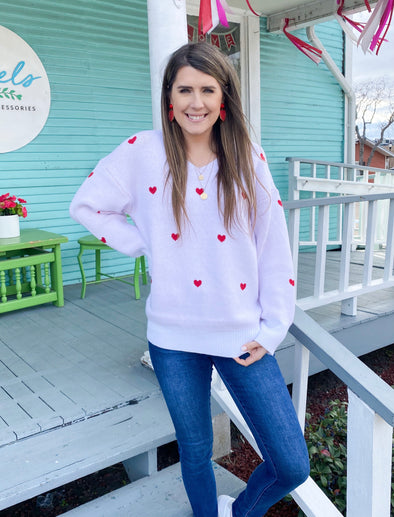 White with red Hearts Sweater