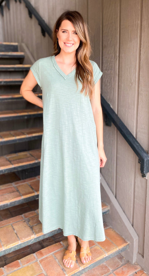 Washed Olive V Neck Maxi Dress