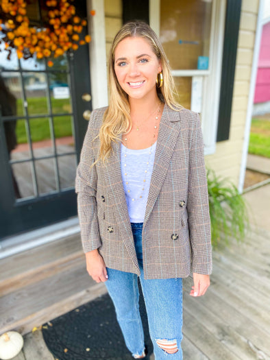 Almond Plaid Boyfriend Blazer